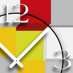 bunte Würfel Designer Wanduhr modernes Wanduhren Design leise kein ticken dixtime 3D-0046