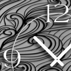 Abstrakt Zendoodle Ornament grau schwarz Designer Wanduhr modernes Wanduhren Design leise kein ticken dixtime 3D-0044