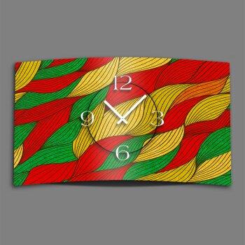 Abstrakt rot grün gelb Designer Wanduhr modernes Wanduhren Design leise kein ticken dixtime 3D-0043