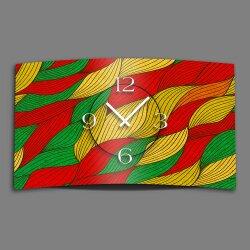 Abstrakt rot grün gelb Designer Wanduhr modernes...