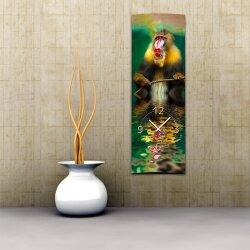 Wanduhr XXL 3D Optik Dixtime Wasser Affe 30x90 cm hochkant leises Uhrwerk GL-019H