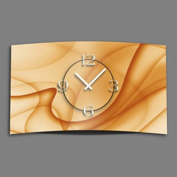 Abstrakt apricot Designer Wanduhr modernes Wanduhren Design leise kein ticken dixtime 3D-0039