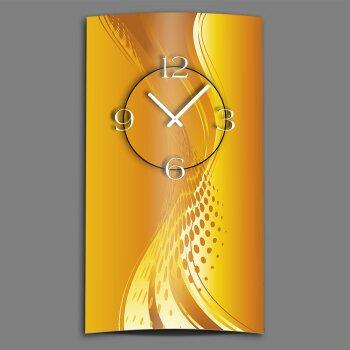 Abstrakt orange hochkant Designer Wanduhr modernes Wanduhren Design leise kein ticken dixtime 3D-0036