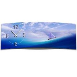 Wanduhr XXL 3D Optik Dixtime blau Meer Schiff 30x90 cm...