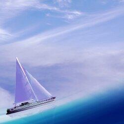 Wanduhr XXL 3D Optik Dixtime blau Meer Schiff 30x90 cm leises Uhrwerk GL-018