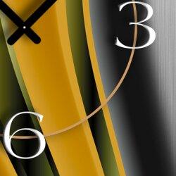 Abstrakt gelb orange Designer Wanduhr modernes Wanduhren Design leise kein ticken dixtime 3D-0027