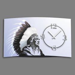 Digital Designer Art Indianer Designer Wanduhr abstrakt...