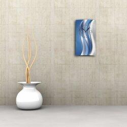 Abstrakt blau silber hochkant Designer Wanduhr modernes Wanduhren Design leise kein ticken dixtime 3D-0026