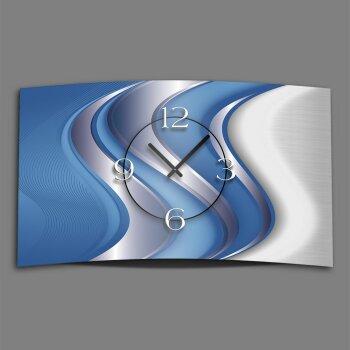 Abstrakt blau silber Designer Wanduhr modernes Wanduhren Design leise kein ticken dixtime 3D-0024
