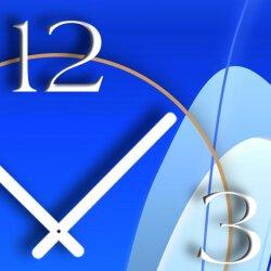 Abstrakt blau hochkant Designer Wanduhr modernes Wanduhren Design leise kein ticken dixtime 3D-0023