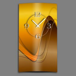 Abstrakt caramel braun hochkant Designer Wanduhr modernes Wanduhren Design leise kein ticken dixtime 3D-0022