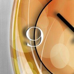 Abstrakt apricot hochkant Designer Wanduhr modernes Wanduhren Design leise kein ticken dixtime 3D-0014