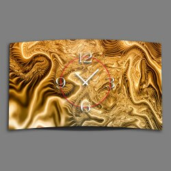 Abstrakt Digital Art gold  Designer Wanduhr modernes...