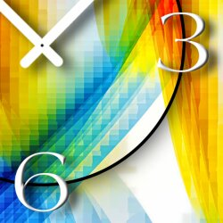 Abstrakt bunt hochkant Designer Wanduhr modernes Wanduhren Design leise kein ticken dixtime 3D-0011