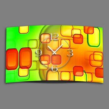 Retro grün orange Designer Wanduhr modernes Wanduhren Design leise kein ticken dixtime 3DS-0246