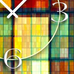 Abstrakt mosaik bunt Designer Wanduhr modernes Wanduhren Design leise kein ticken dixtime 3DS-0231
