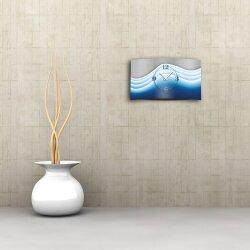 Abstrakt Wellen blau Designer Wanduhr modernes Wanduhren Design leise kein ticken dixtime 3D-0008