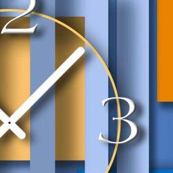 Abstrakt blau hochkant Designer Wanduhr modernes Wanduhren Design leise kein ticken dixtime 3D-0007