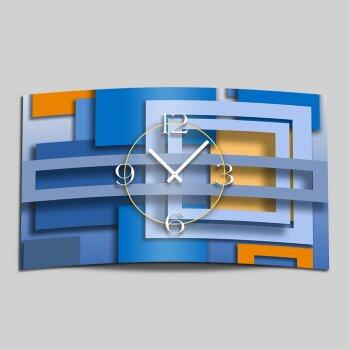Abstrakt blau Designer Wanduhr modernes Wanduhren Design leise kein ticken dixtime 3D-0006