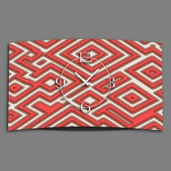 Abstrakt Labyrith rot Designer Wanduhr modernes Wanduhren...