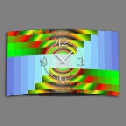 Psychodelic blau grün Designer Wanduhr modernes Wanduhren Design leise kein ticken dixtime 3DS-0192