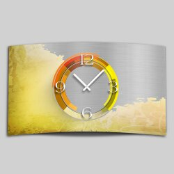 Abstrakt gelb Designer Wanduhr modernes Wanduhren Design leise kein ticken dixtime 3D-0003