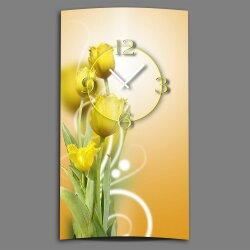 gelbe Tulpen Designer Wanduhr modernes Wanduhren Design...