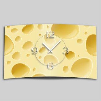 Käse Cheese  Designer Wanduhr modernes Wanduhren Design leise kein ticken dixtime 3D-0002