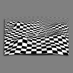 Karo schwarz weiß 2tone Designer Wanduhr modernes...