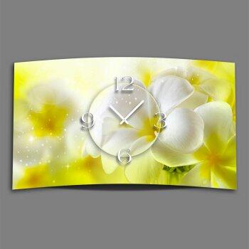 Blumen weiß gelb Designer Wanduhr modernes Wanduhren Design leise kein ticken dixtime 3DS-0153