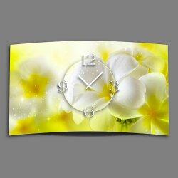 Blumen weiß gelb Designer Wanduhr modernes...
