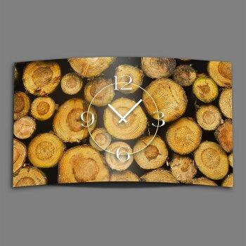 Holz Scheite Designer Wanduhr modernes Wanduhren Design leise kein ticken dixtime 3DS-0152
