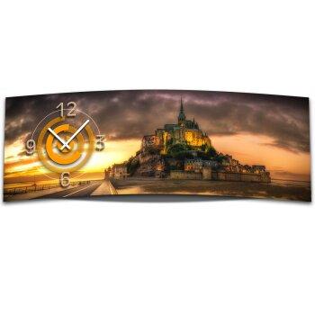 Wanduhr XXL 3D Optik Dixtime Sonnenuntergang Schloss 30x90 cm leises Uhrwerk GL-015