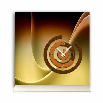 Tischuhr 30cmx30cm inkl. Alu-Ständer -abstraktes Design braun caramell cafe Nuancen geräuschloses Quarzuhrwerk -Kaminuhr-Standuhr TU6143 DIXTIME