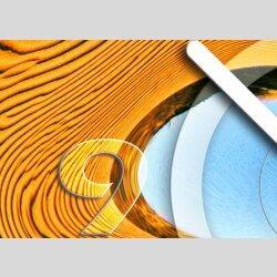 Tischuhr 30cmx30cm inkl. Alu-Ständer -abstraktes Design Wüste geräuschloses Quarzuhrwerk -Wanduhr-Standuhr TU6112 DIXTIME