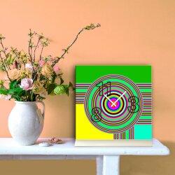 Tischuhr 30cmx30cm inkl. Alu-Ständer -modernes Design grün bunt poppig geräuschloses Quarzuhrwerk -Wanduhr-Standuhr TU6103 DIXTIME