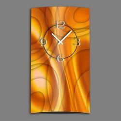 Abstrakt orange hochkant Designer Wanduhr modernes...