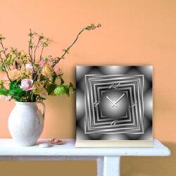 Tischuhr 30cmx30cm inkl. Alu-Ständer -modernes Design grau geräuschloses Quarzuhrwerk -Wanduhr-Standuhr TU6095 DIXTIME