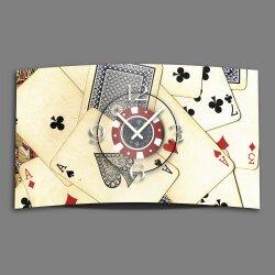 Motiv  Spielkarten Designer Wanduhr modernes Wanduhren...