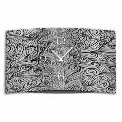 Abstrakt Zendoodle Ornament grau schwarz Designer Wanduhr modernes Wanduhren Design leise kein ticken dixtime 3DS-0044