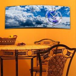 Wanduhr XXL 3D Optik Dixtime blau Wolkenhimmel 30x90 cm...