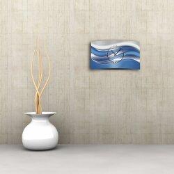 Abstrakt silber blau  Designer Wanduhr modernes Wanduhren Design leise kein ticken dixtime 3DS-0025