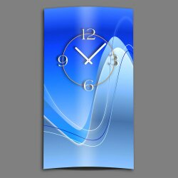 Abstrakt blau hochkant Designer Wanduhr modernes...