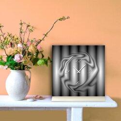Tischuhr 30cmx30cm inkl. Alu-Ständer -abstraktes Design grau schwarz  geräuschloses Quarzuhrwerk -Kaminuhr-Standuhr TU6056 DIXTIME