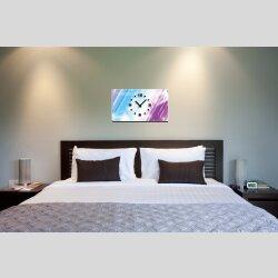 Abstrakt blau lila pink Designer Wanduhr modernes...