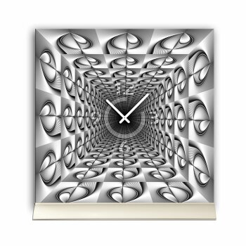Tischuhr 30cmx30cm inkl. Alu-Ständer -abstraktes Design grau  geräuschloses Quarzuhrwerk -Wanduhr-Standuhr TU6053 DIXTIME
