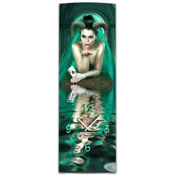Wanduhr XXL 3D Optik Dixtime digital Frau Daemon 30x90 cm hochkant leises Uhrwerk GL-013H