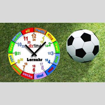 Kinder-Lernuhr Fussball und Rasen, leise kein ticken, dixtime 3D-0435
