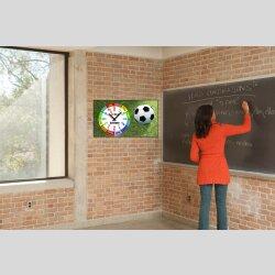 Kinder-Lernuhr Fussball und Rasen, leise kein ticken,...