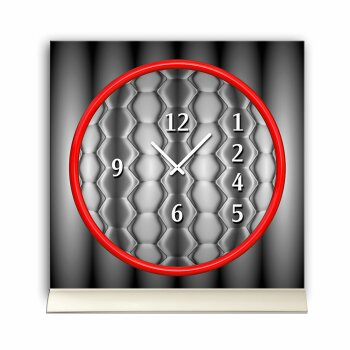 Tischuhr 30cmx30cm inkl. Alu-Ständer -grafisches Design grau rot  geräuschloses Quarzuhrwerk -Wanduhr-Standuhr TU6038 DIXTIME